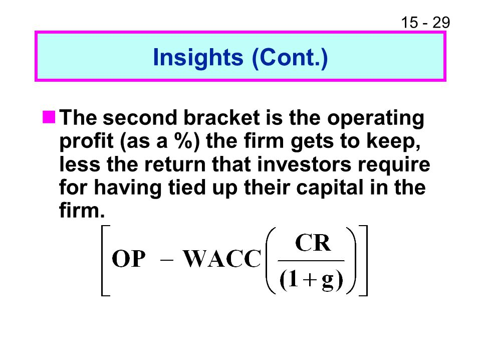 15 - 29 Insights (Cont.) The second bracket is the operating profit (as a %) the firm gets to keep, less the return that investors require for having