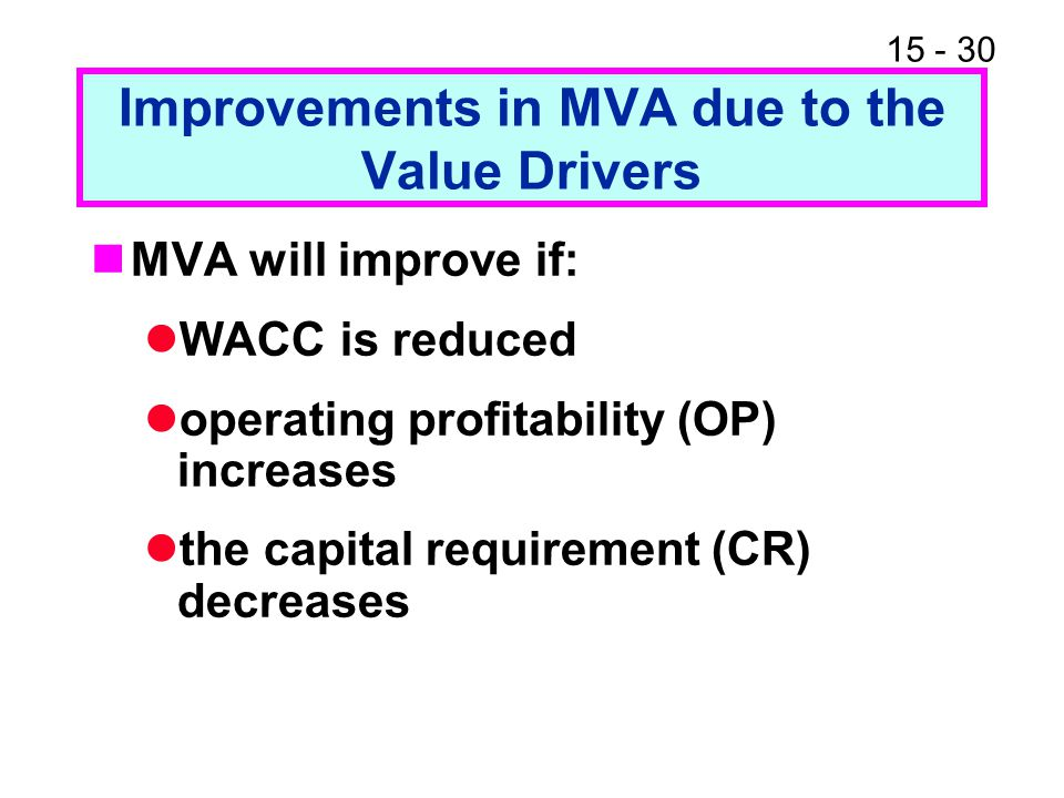 15 - 30 Improvements in MVA due to the Value Drivers MVA will improve if: WACC is reduced operating profitability (OP) increases the capital requireme