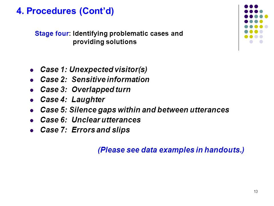 13 4. Procedures (Cont'd) Case 1: Unexpected visitor(s) Case 2: Sensitive information Case 3: Overlapped turn Case 4: Laughter Case 5: Silence gaps wi
