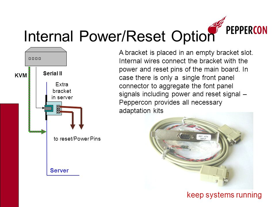 keep systems running Internal Wiring Reset button POWER on/off Main board Single Pins on main board For Location of reset and power on/off pins refer to main board manual Power Option Bracket