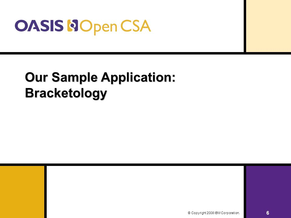 66 © Copyright 2008 IBM Corporation. Our Sample Application: Bracketology