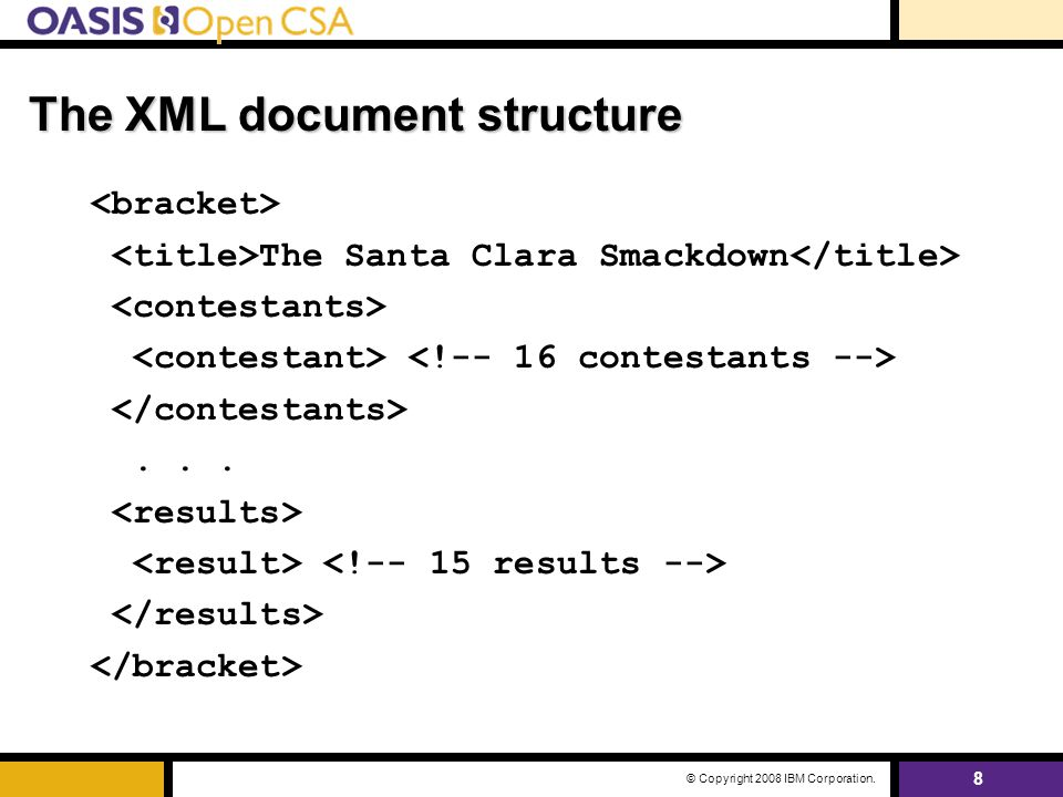 8 © Copyright 2008 IBM Corporation. The XML document structure The Santa Clara Smackdown...