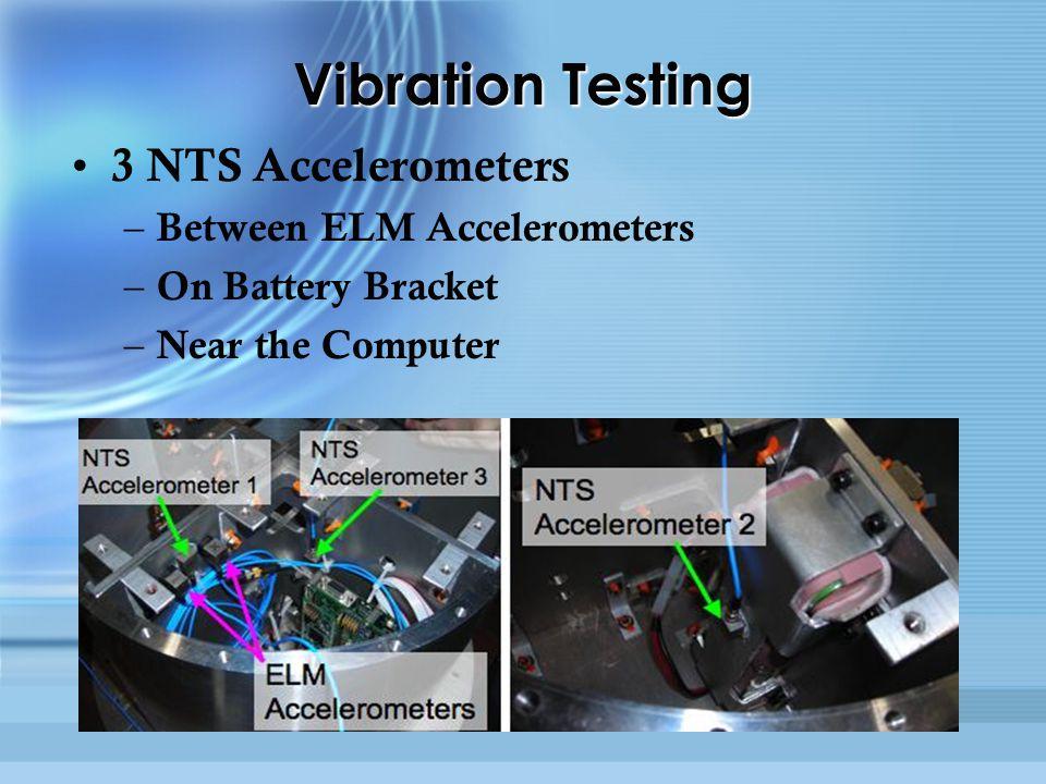Vibration Testing 3 NTS Accelerometers – Between ELM Accelerometers – On Battery Bracket – Near the Computer 3 NTS Accelerometers – Between ELM Accelerometers – On Battery Bracket – Near the Computer