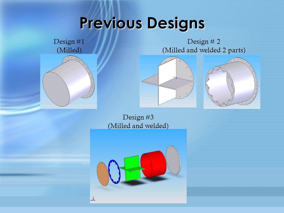 Previous Designs Design #1 (Milled) Design # 2 (Milled and welded 2 parts) Design #3 (Milled and welded)