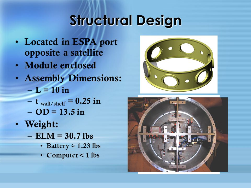 Structural Design Located in ESPA port opposite a satellite Module enclosed Assembly Dimensions: – L = 10 in – t wall/shelf = 0.25 in – OD = 13.5 in Weight: – ELM = 30.7 lbs Battery ≈ 1.23 lbs Computer < 1 lbs