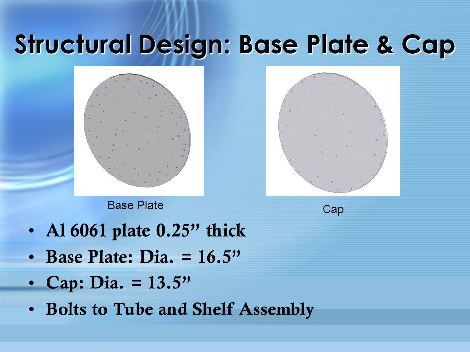 Al 6061 plate 0.25 thick Base Plate: Dia. = 16.5 Cap: Dia.