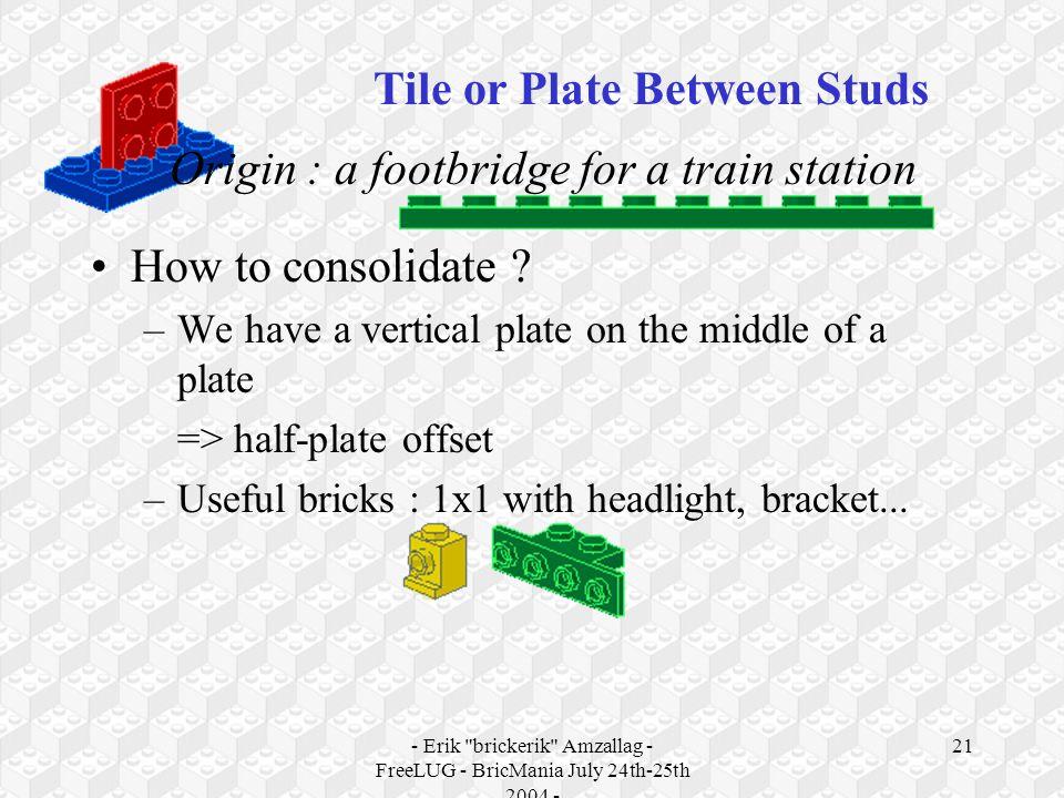- Erik brickerik Amzallag - FreeLUG - BricMania July 24th-25th 2004 - 21 Origin : a footbridge for a train station How to consolidate .