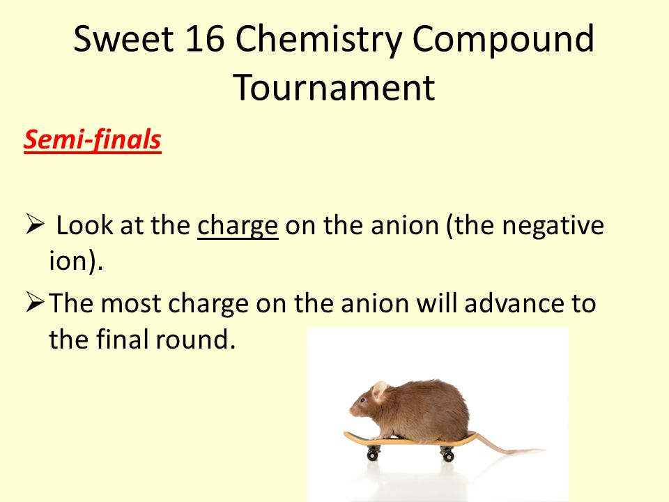 Sweet 16 Chemistry Compound Tournament Semi-finals  Look at the charge on the anion (the negative ion).