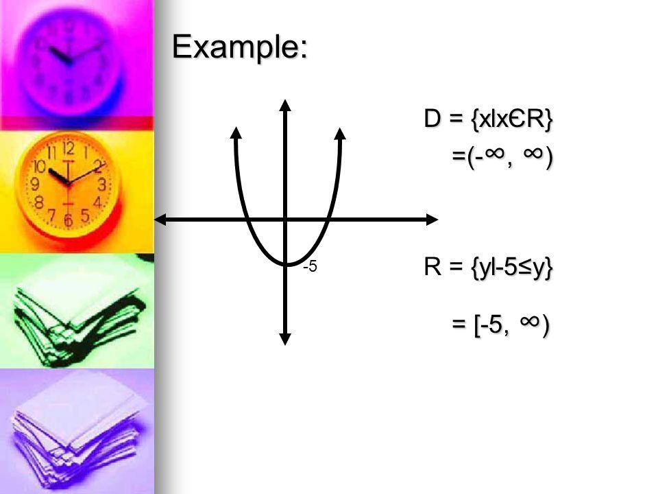 D = {xlxЄR} =(- ∞, ∞ ) {yl-5≤y} R = {yl-5≤y} = [-5, ∞ ) = [-5, ∞ ) Example: -5