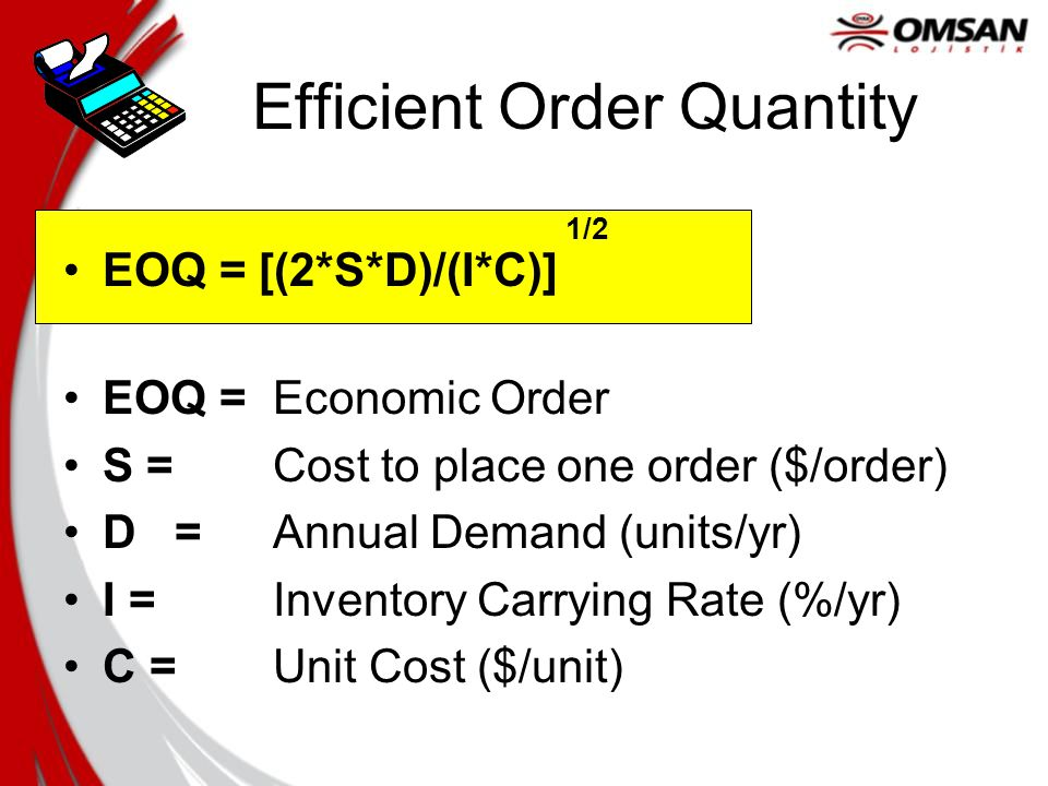 Efficient Order Quantity EOQ = [(2*S*D)/(I*C)] 1/2 EOQ = Economic Order S = Cost to place one order ($/order) D = Annual Demand (units/yr) I = Inventory Carrying Rate (%/yr) C = Unit Cost ($/unit)