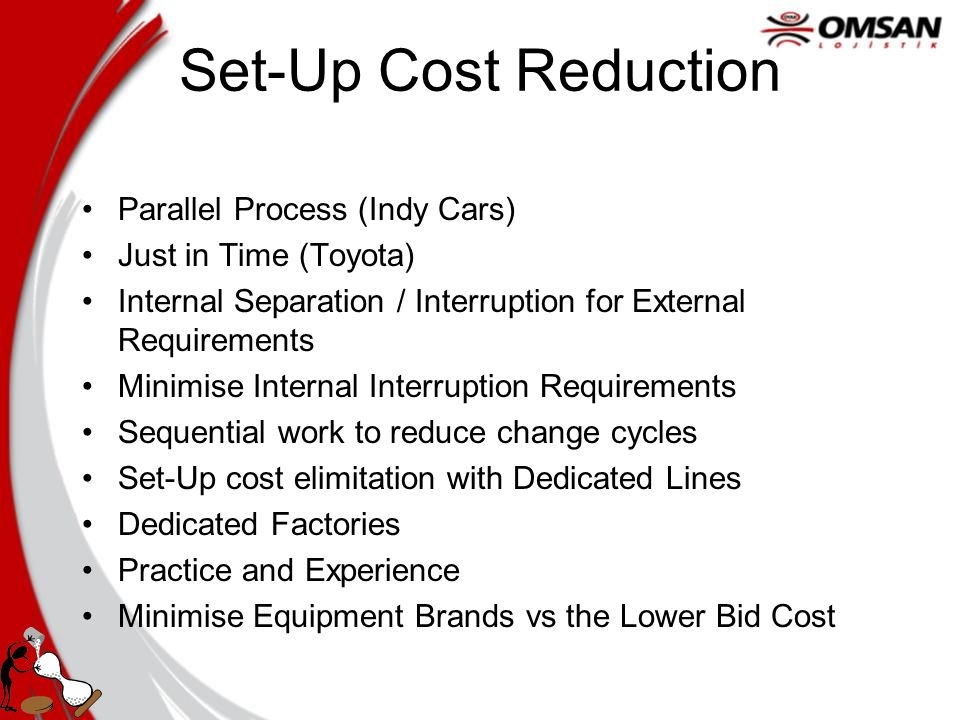 Set-Up Cost Reduction Parallel Process (Indy Cars) Just in Time (Toyota) Internal Separation / Interruption for External Requirements Minimise Internal Interruption Requirements Sequential work to reduce change cycles Set-Up cost elimitation with Dedicated Lines Dedicated Factories Practice and Experience Minimise Equipment Brands vs the Lower Bid Cost