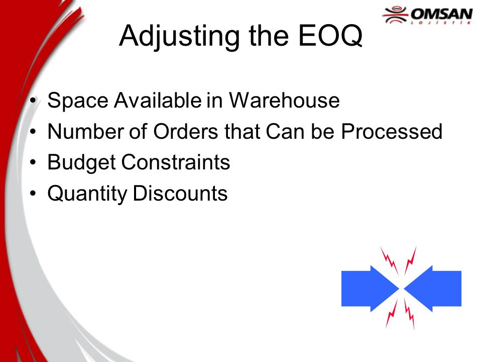 Adjusting the EOQ Space Available in Warehouse Number of Orders that Can be Processed Budget Constraints Quantity Discounts