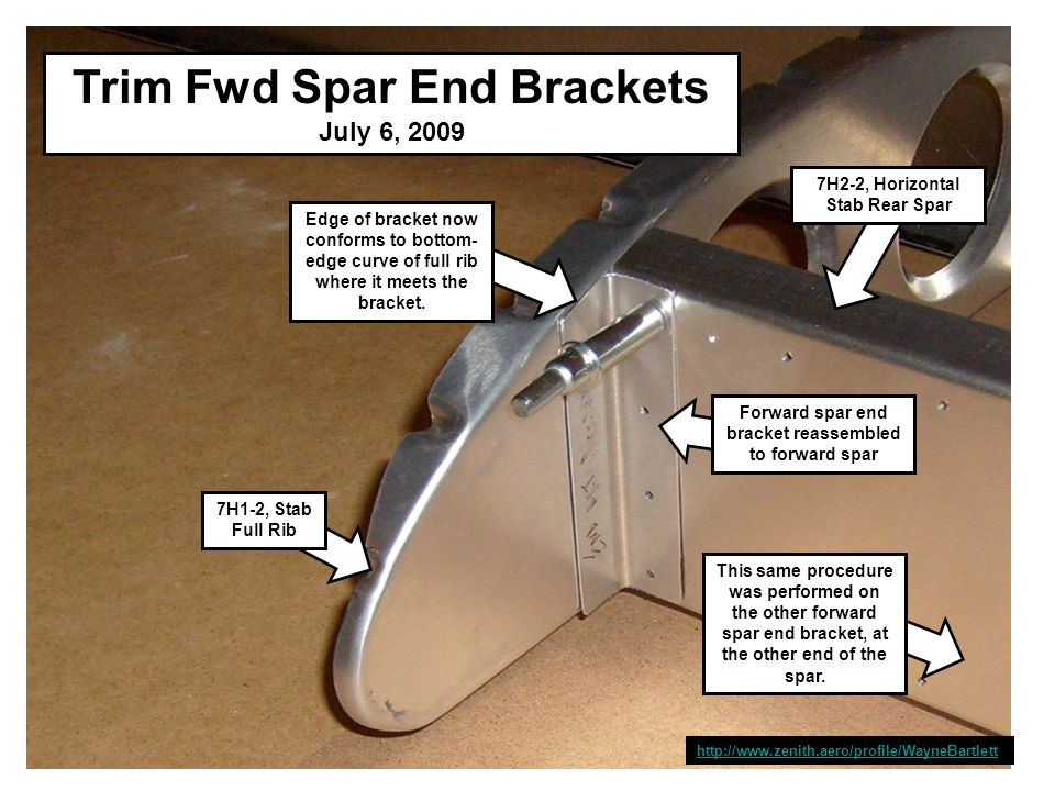 Summary of Work to This Point July 6, 2009 Rudder: - Assembled, in storage - Forward spar drilled for ribs and rivets - Lower doubler drilled for rivets - Upper doubler drilled for rivets - Front horizontal stab attach brackets made - Locate and drill two rear ribs for attachment to spar - Locate and drill nose rib for attachment to spar - Make end rib attach brackets - Locate and drill end rib attach brackets - Locate and drill horizontal stab front mounts - Finish drilling holes in end brackets for forward stab - Locate and drill upper and lower doublers to rear spar - Locate and drill rear ribs to rear spar Tail:- Trim forward spar end brackets to match curve of full rib at meeting point Tail: - Confirm that forward tips of full ribs and nose rib are co-planar - Locate and drill forward spar end brackets for attachment to full spar Done Done Here Next Up http://www.zenith.aero/profile/WayneBartlett