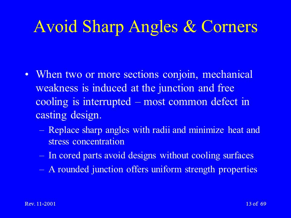Rev. 11-200113 of 69 Avoid Sharp Angles & Corners When two or more sections conjoin, mechanical weakness is induced at the junction and free cooling i