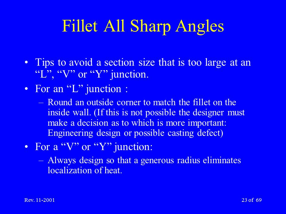 """Rev. 11-200123 of 69 Fillet All Sharp Angles Tips to avoid a section size that is too large at an """"L"""", """"V"""" or """"Y"""" junction. For an """"L"""" junction : –Rou"""