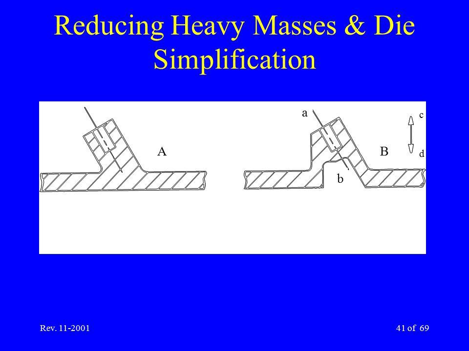 Rev. 11-200141 of 69 Reducing Heavy Masses & Die Simplification A a c B b d