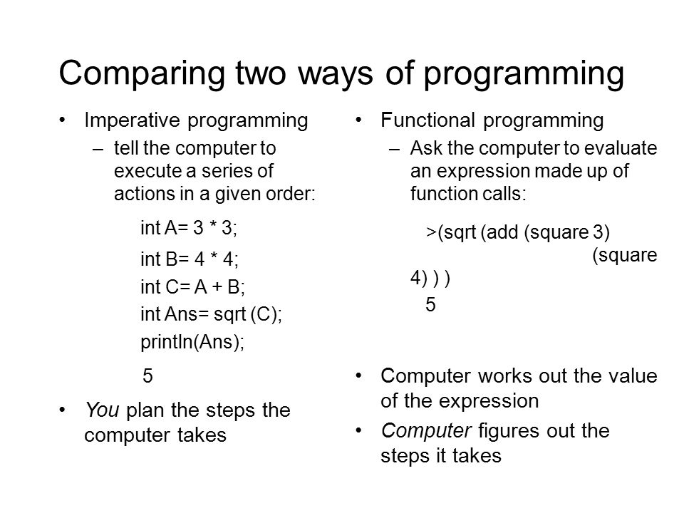 Comparing two ways of programming Imperative programming –tell the computer to execute a series of actions in a given order: int A= 3 * 3; int B= 4 * 4; int C= A + B; int Ans= sqrt (C); println(Ans); 5 You plan the steps the computer takes Functional programming –Ask the computer to evaluate an expression made up of function calls: >(sqrt (add (square 3) (square 4) ) ) 5 Computer works out the value of the expression Computer figures out the steps it takes