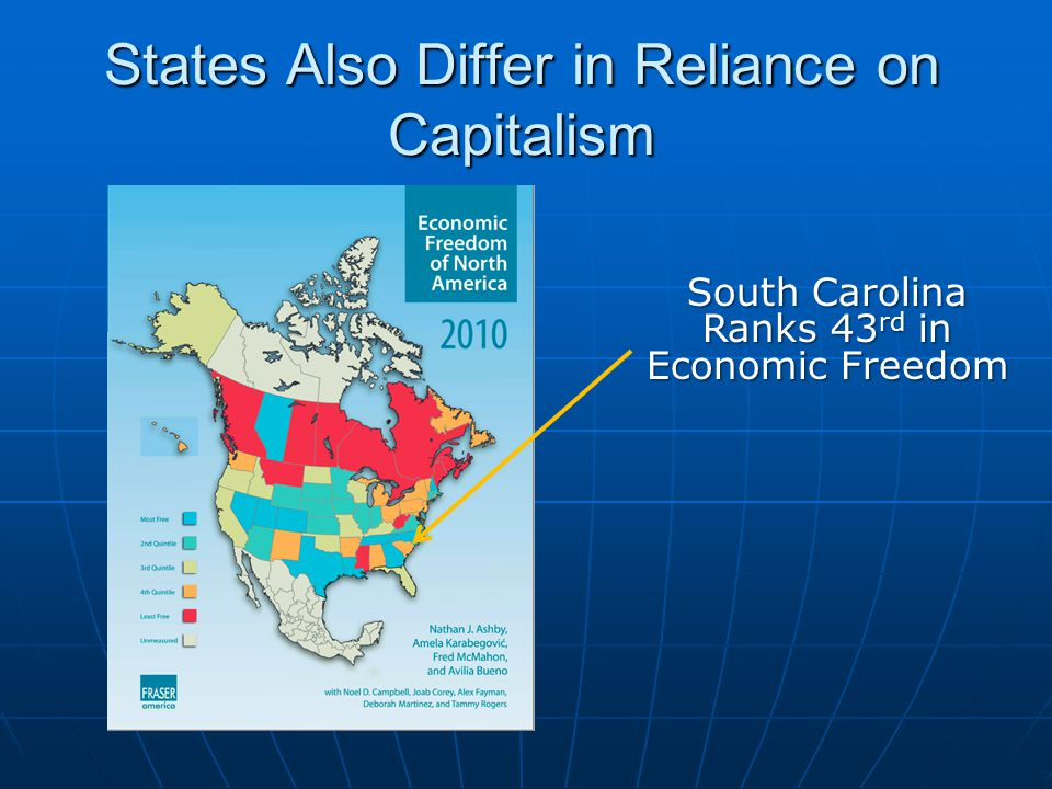 States Also Differ in Reliance on Capitalism South Carolina Ranks 43 rd in Economic Freedom