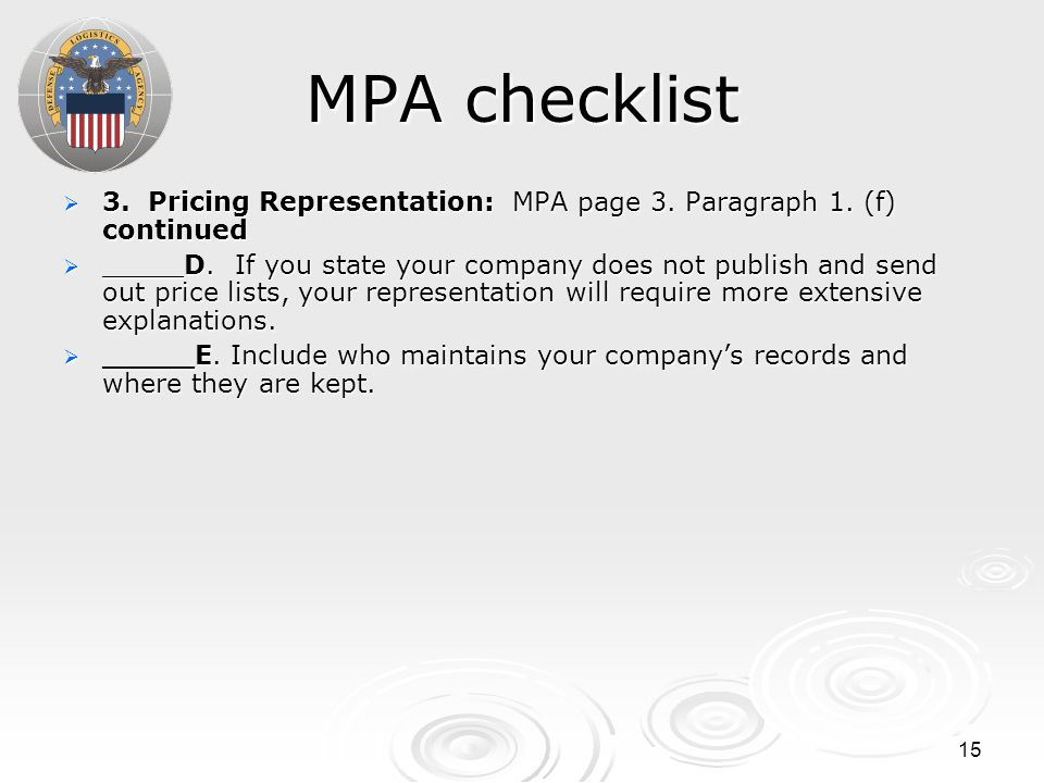 15 MPA checklist  3. Pricing Representation: MPA page 3. Paragraph 1. (f) continued  _____D. If you state your company does not publish and send out