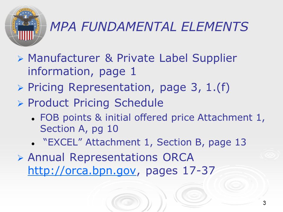 3 MPA FUNDAMENTAL ELEMENTS   Manufacturer & Private Label Supplier information, page 1   Pricing Representation, page 3, 1.(f)   Product Pricing