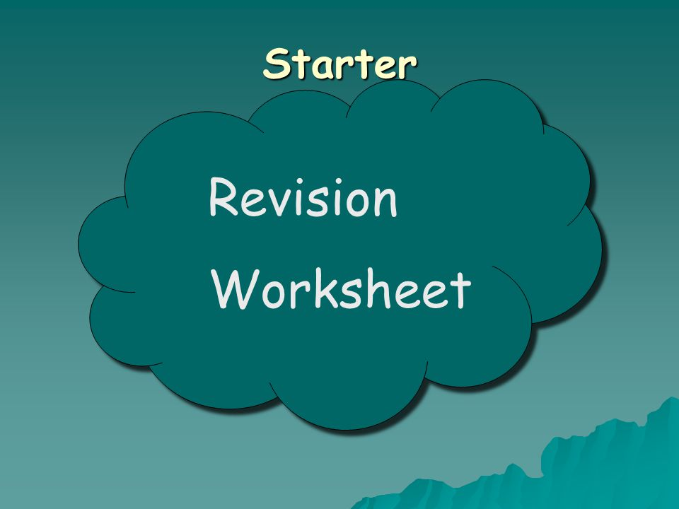 Starter Revision Worksheet