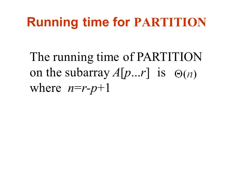 Running time for PARTITION The running time of PARTITION on the subarray A[p...r] is where n=r-p+1
