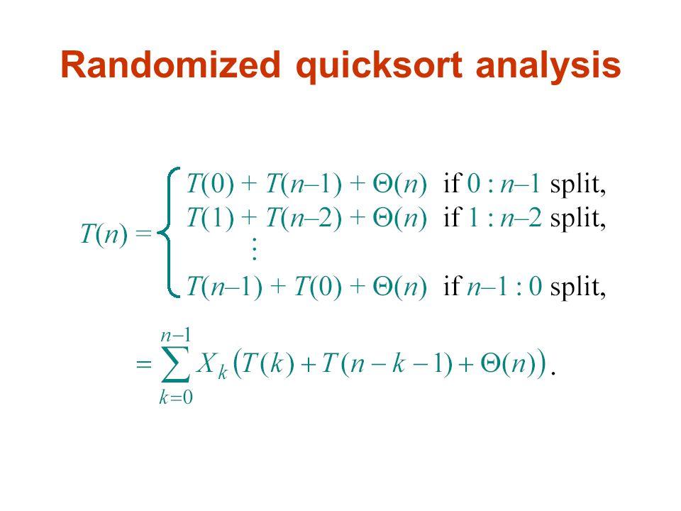 Randomized quicksort analysis