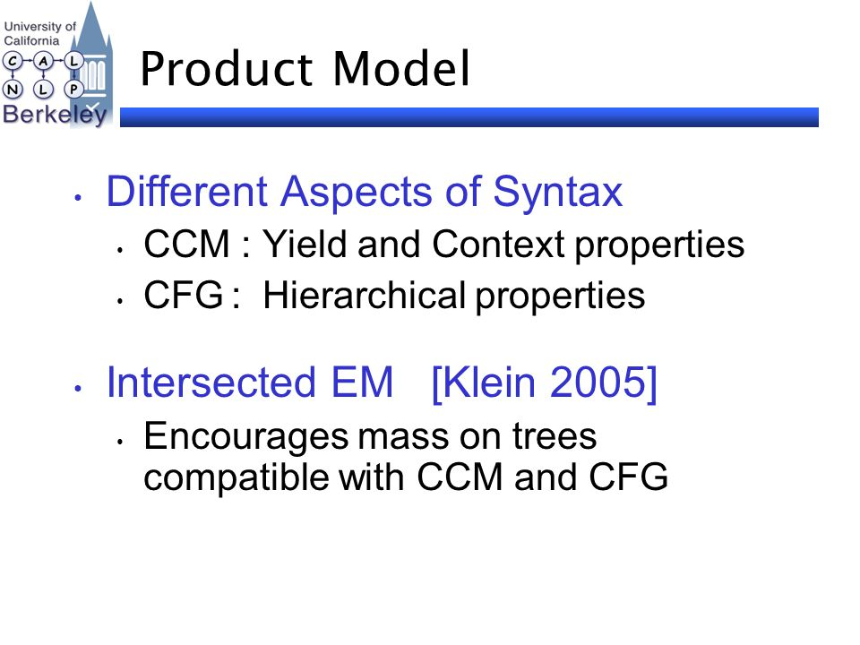 Product Model Different Aspects of Syntax CCM : Yield and Context properties CFG : Hierarchical properties Intersected EM [Klein 2005] Encourages mass