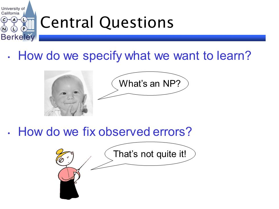 Central Questions How do we specify what we want to learn? How do we fix observed errors? What's an NP? That's not quite it!