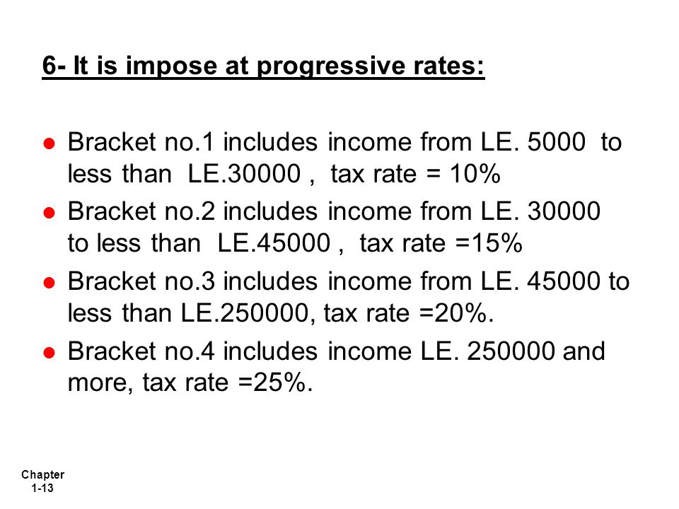 Chapter 1-13 6- It is impose at progressive rates: Bracket no.1 includes income from LE.