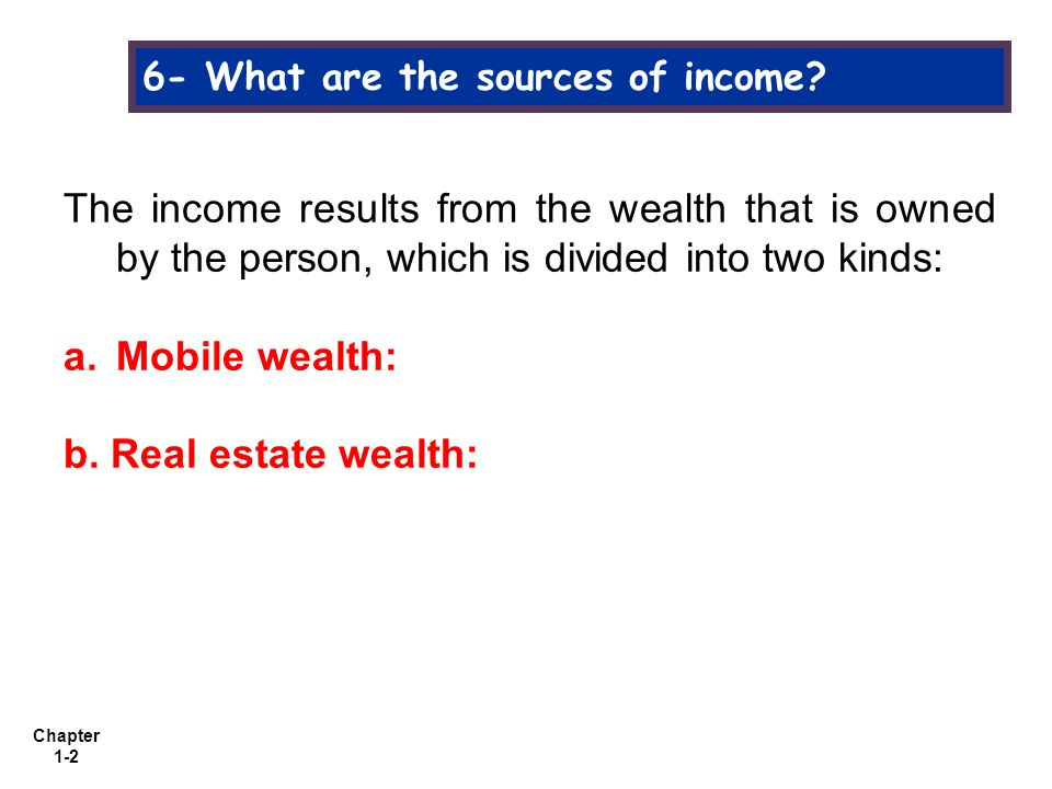 Chapter 1-3 6- What are the sources of income.a.