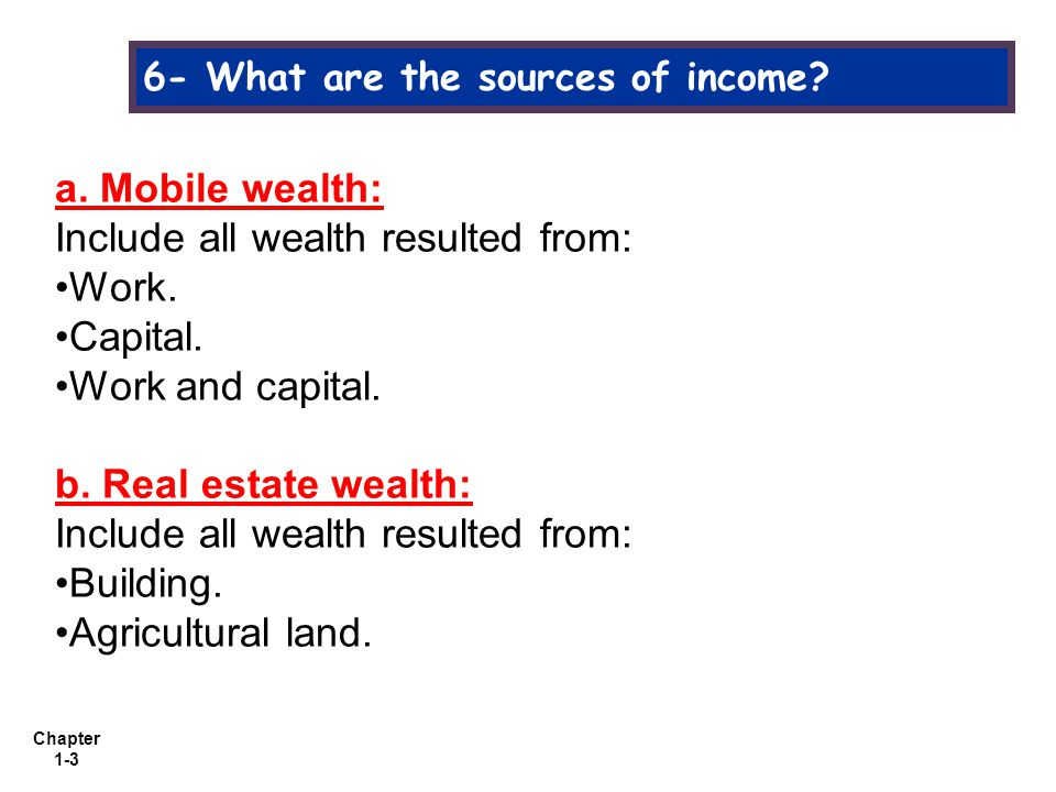 Chapter 1-3 6- What are the sources of income. a.