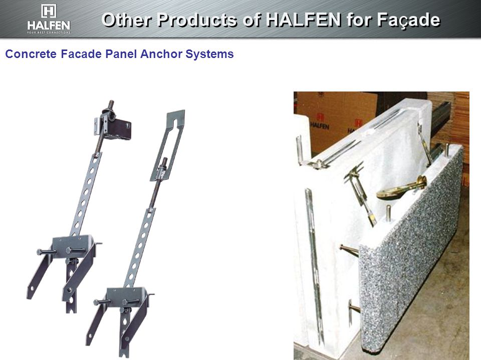 Concrete Facade Panel Anchor Systems Other Products of HALFEN for Façade