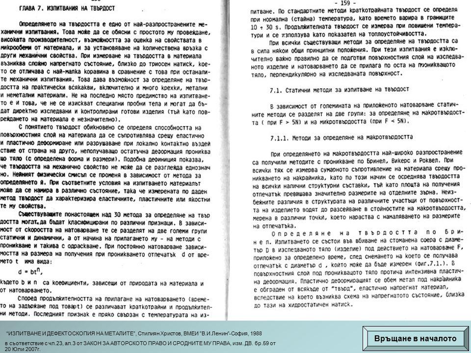 ИЗПИТВАНЕ И ДЕФЕКТОСКОПИЯ НА МЕТАЛИТЕ , Стилиян Христов, ВМЕИ В.И.Ленин -София, 1988 в съответствие с чл.23, ал.3 от ЗАКОН ЗА АВТОРСКОТО ПРАВО И СРОДНИТЕ МУ ПРАВА, изм.