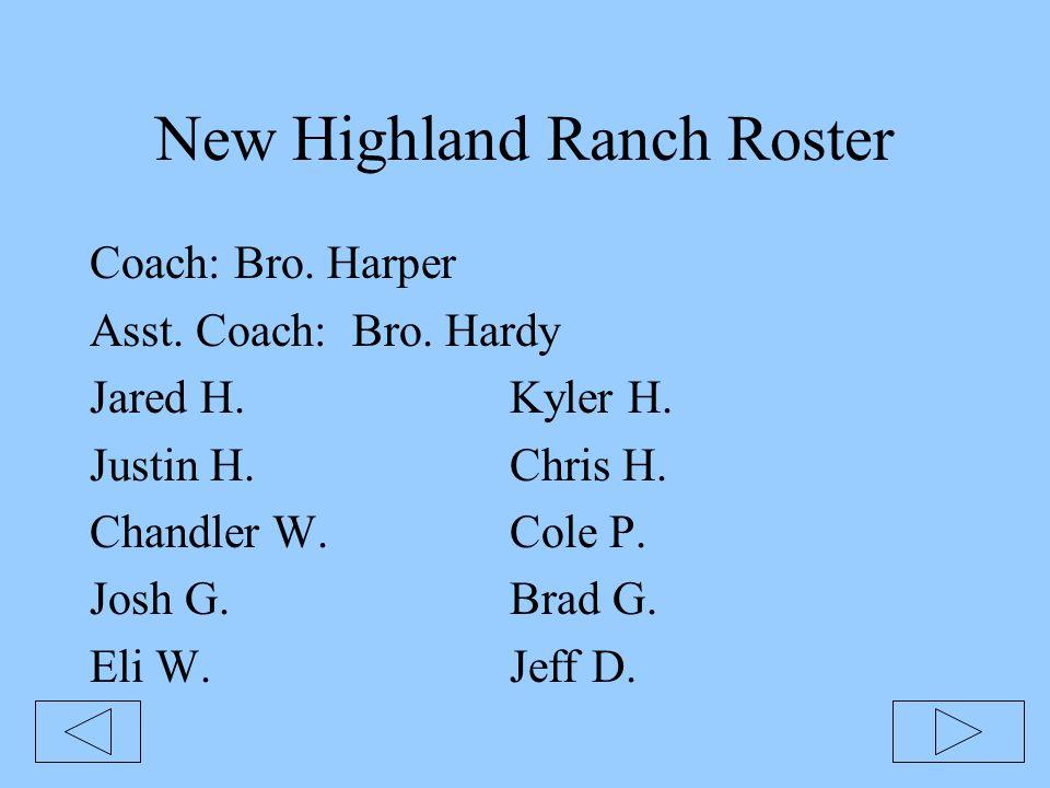 New Highland Ranch Roster Coach: Bro. Harper Asst.