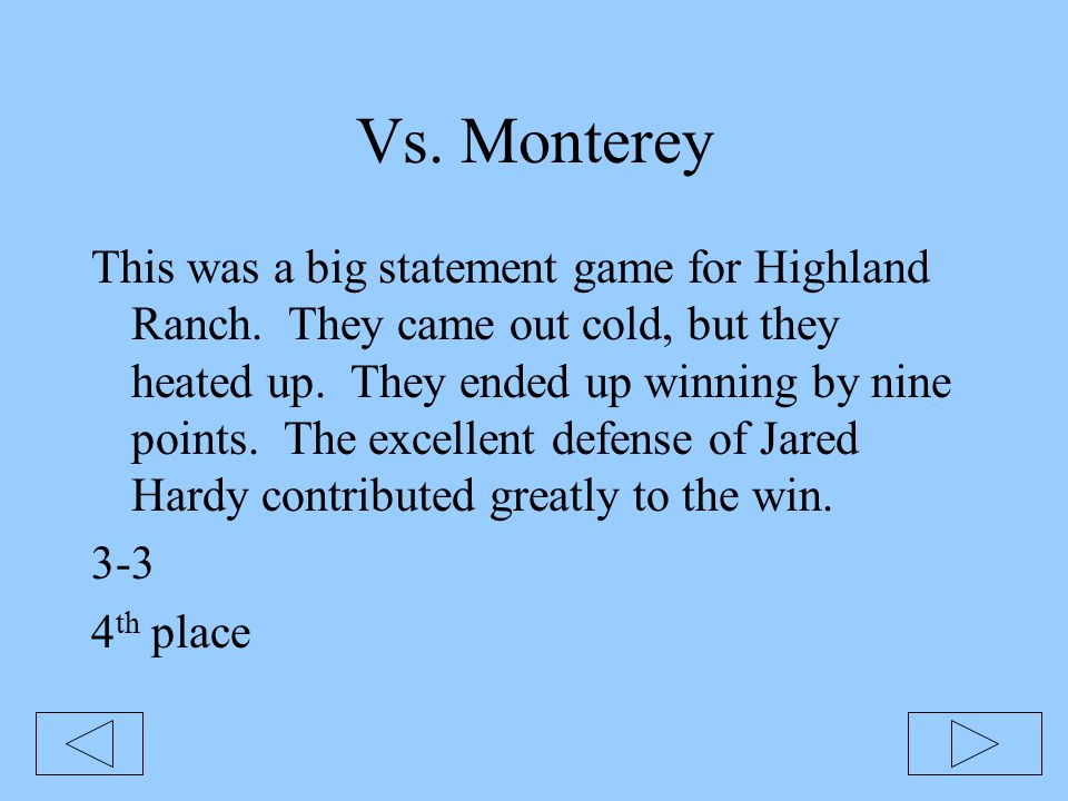 Vs. Monterey This was a big statement game for Highland Ranch. They came out cold, but they heated up. They ended up winning by nine points. The excel