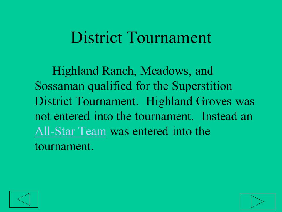 District Tournament Highland Ranch, Meadows, and Sossaman qualified for the Superstition District Tournament. Highland Groves was not entered into the