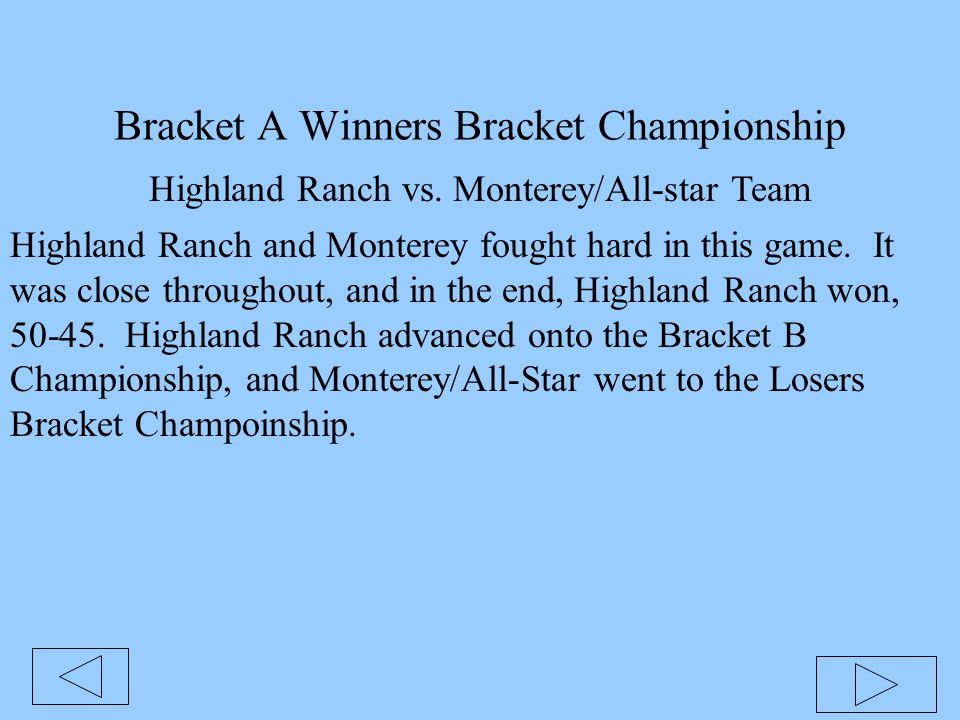 Bracket A Winners Bracket Championship Highland Ranch vs. Monterey/All-star Team Highland Ranch and Monterey fought hard in this game. It was close th