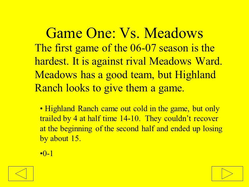 Tournament Bracket Click here to see this season's full tournament brackethere This year's tournament seeding: 1.Meadows 2.Monterey 3.Sossaman 4.Highland Ranch 5.Highland Groves 6.Boulder Creek 7.Highland 8.Eastridge