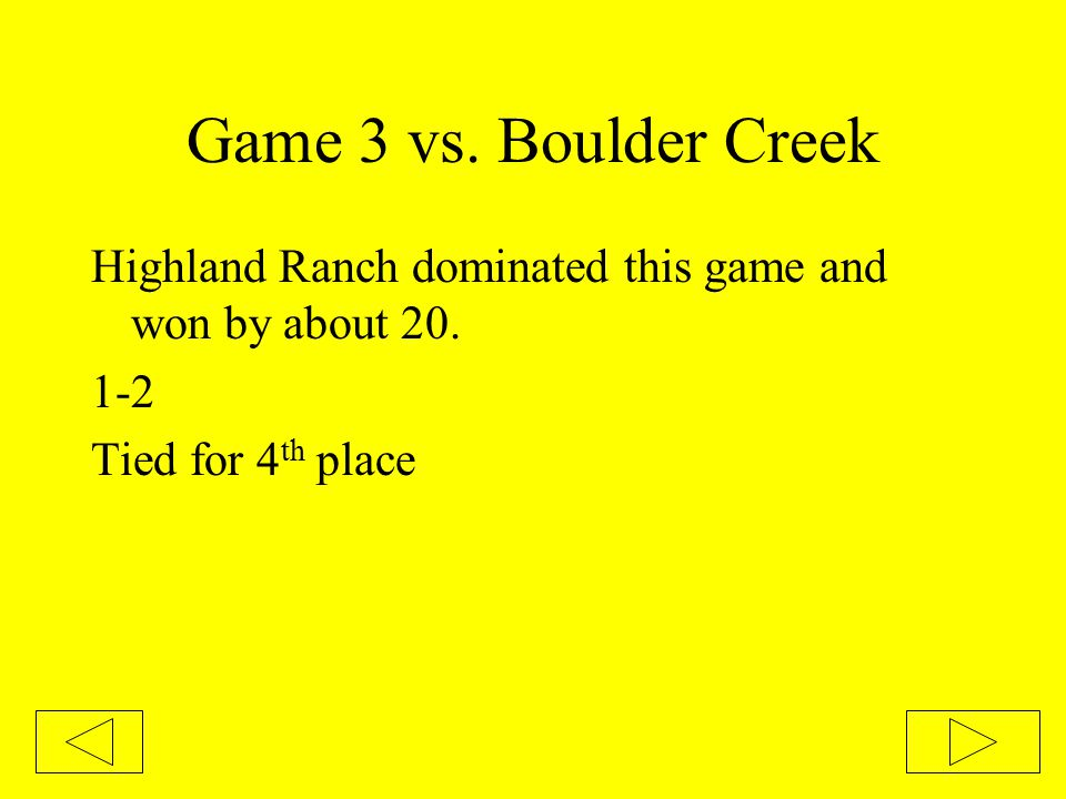 Game 3 vs. Boulder Creek Highland Ranch dominated this game and won by about 20. 1-2 Tied for 4 th place