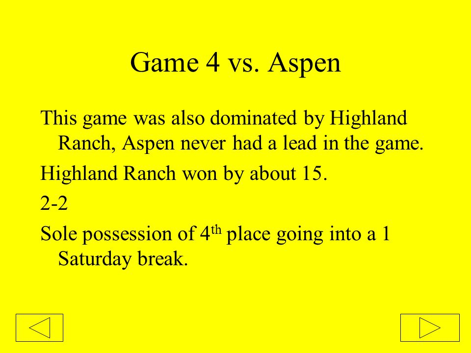 Second Round of Losers Bracket vs.Highland We had this one in hand.
