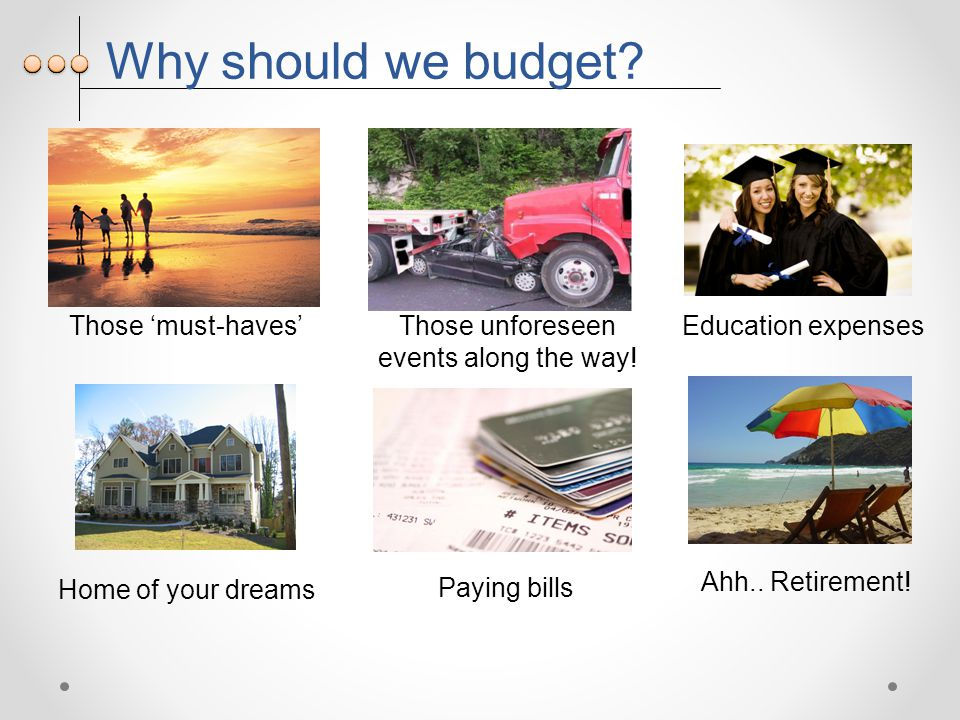 Why should we budget. Those 'must-haves' Home of your dreams Education expenses Ahh..