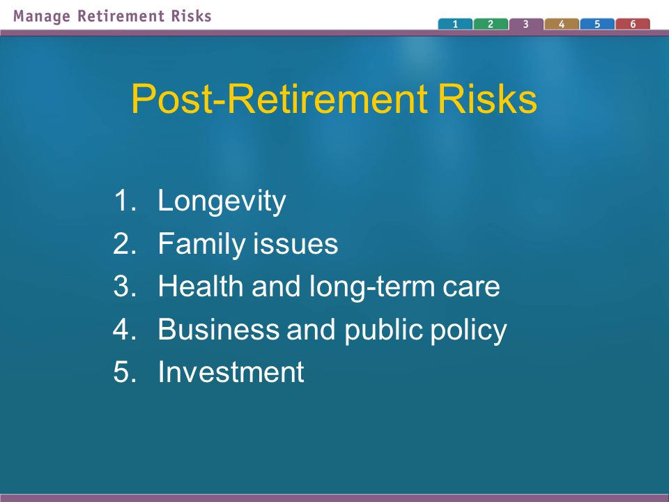 Post-Retirement Risks 1.Longevity 2.Family issues 3.Health and long-term care 4.Business and public policy 5.Investment