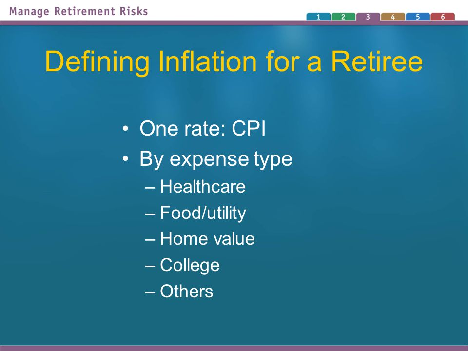 Defining Inflation for a Retiree One rate: CPI By expense type –Healthcare –Food/utility –Home value –College –Others