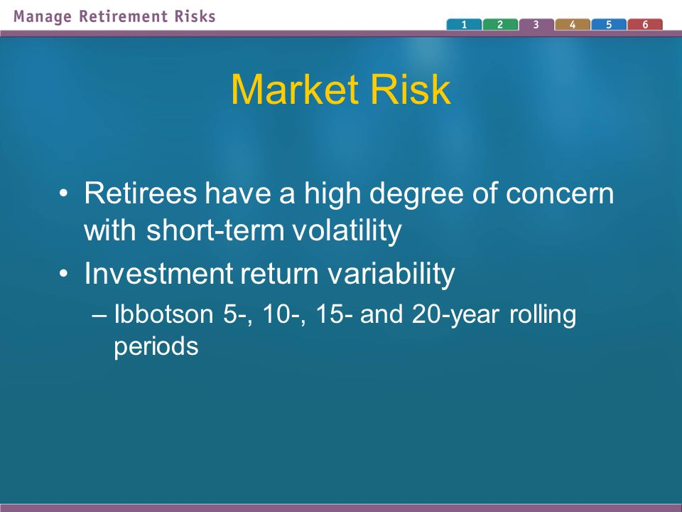 Market Risk Retirees have a high degree of concern with short-term volatility Investment return variability –Ibbotson 5-, 10-, 15- and 20-year rolling periods