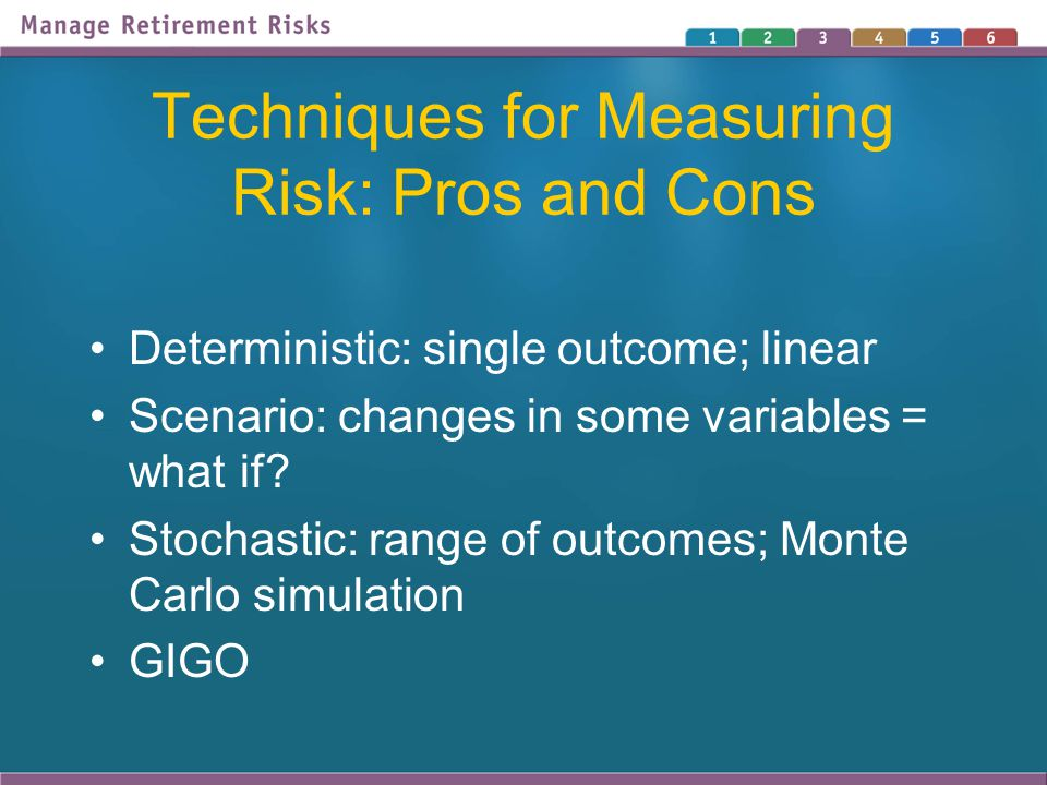 Techniques for Measuring Risk: Pros and Cons Deterministic: single outcome; linear Scenario: changes in some variables = what if? Stochastic: range of