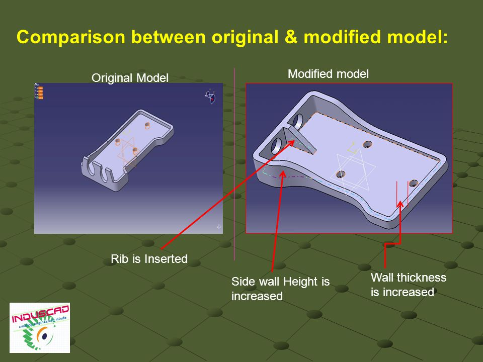 Comparison between original & modified model: Rib is Inserted Side wall Height is increased Wall thickness is increased Original Model Modified model