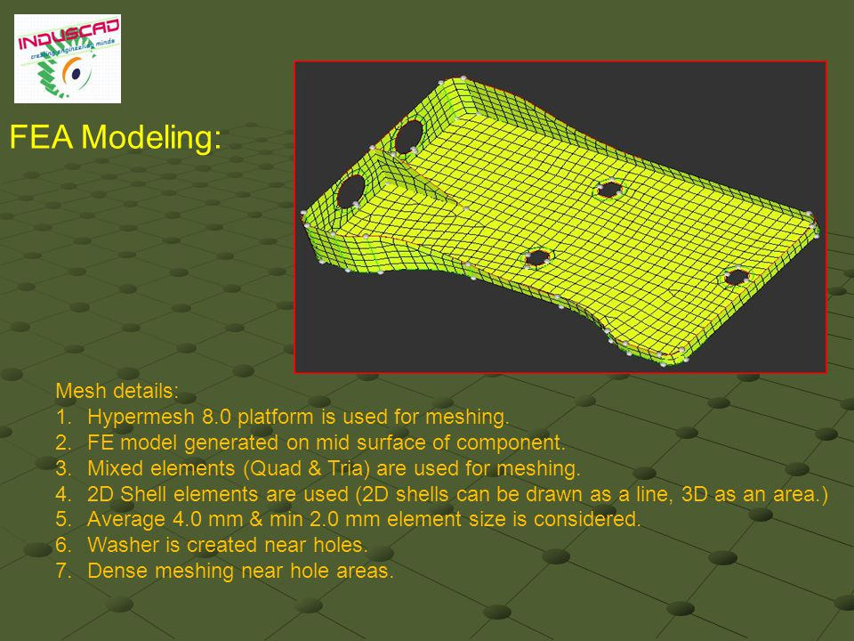 FEA Modeling: Mesh details: 1.Hypermesh 8.0 platform is used for meshing.