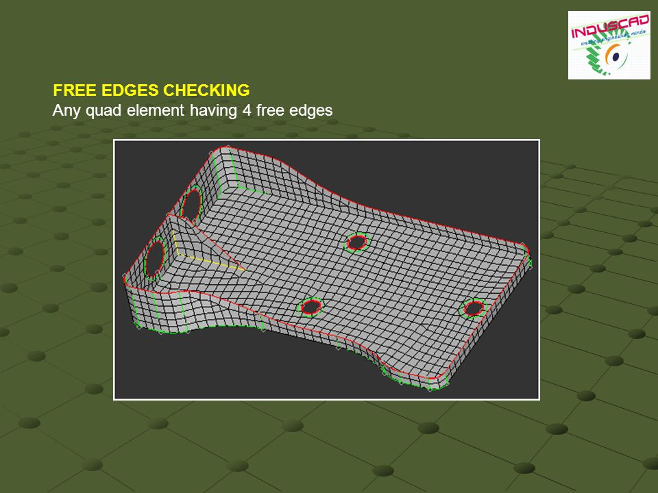 FREE EDGES CHECKING Any quad element having 4 free edges