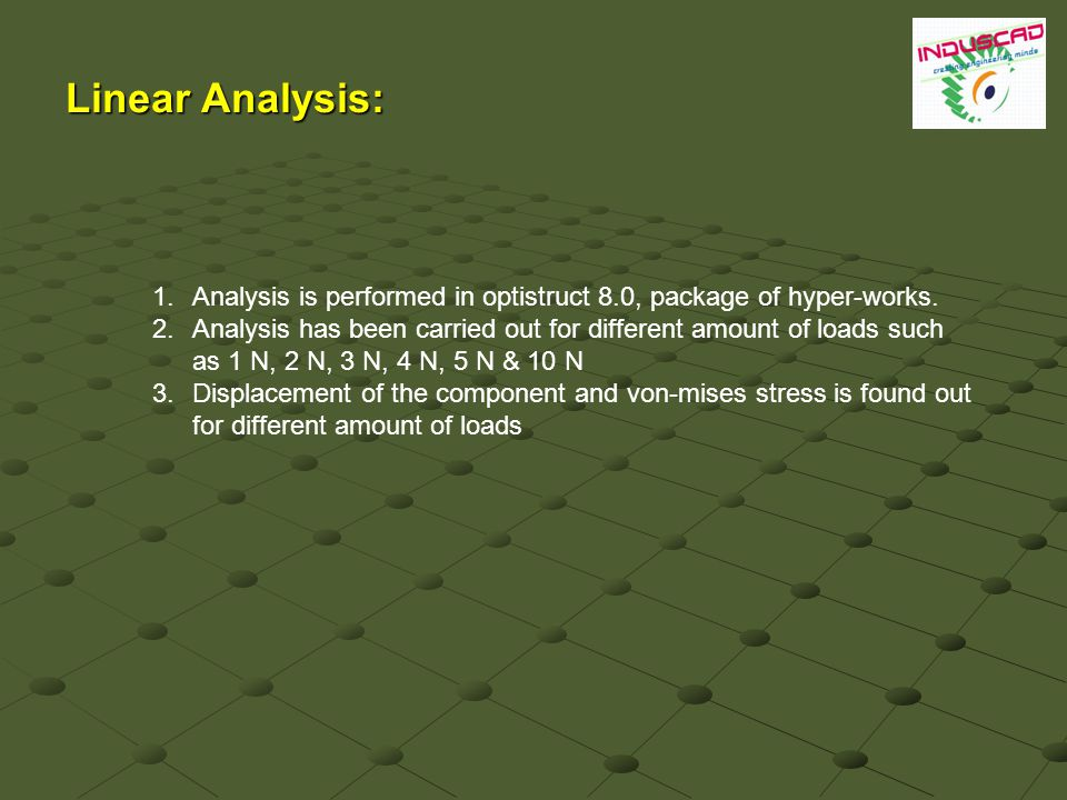 Linear Analysis: 1.Analysis is performed in optistruct 8.0, package of hyper-works.